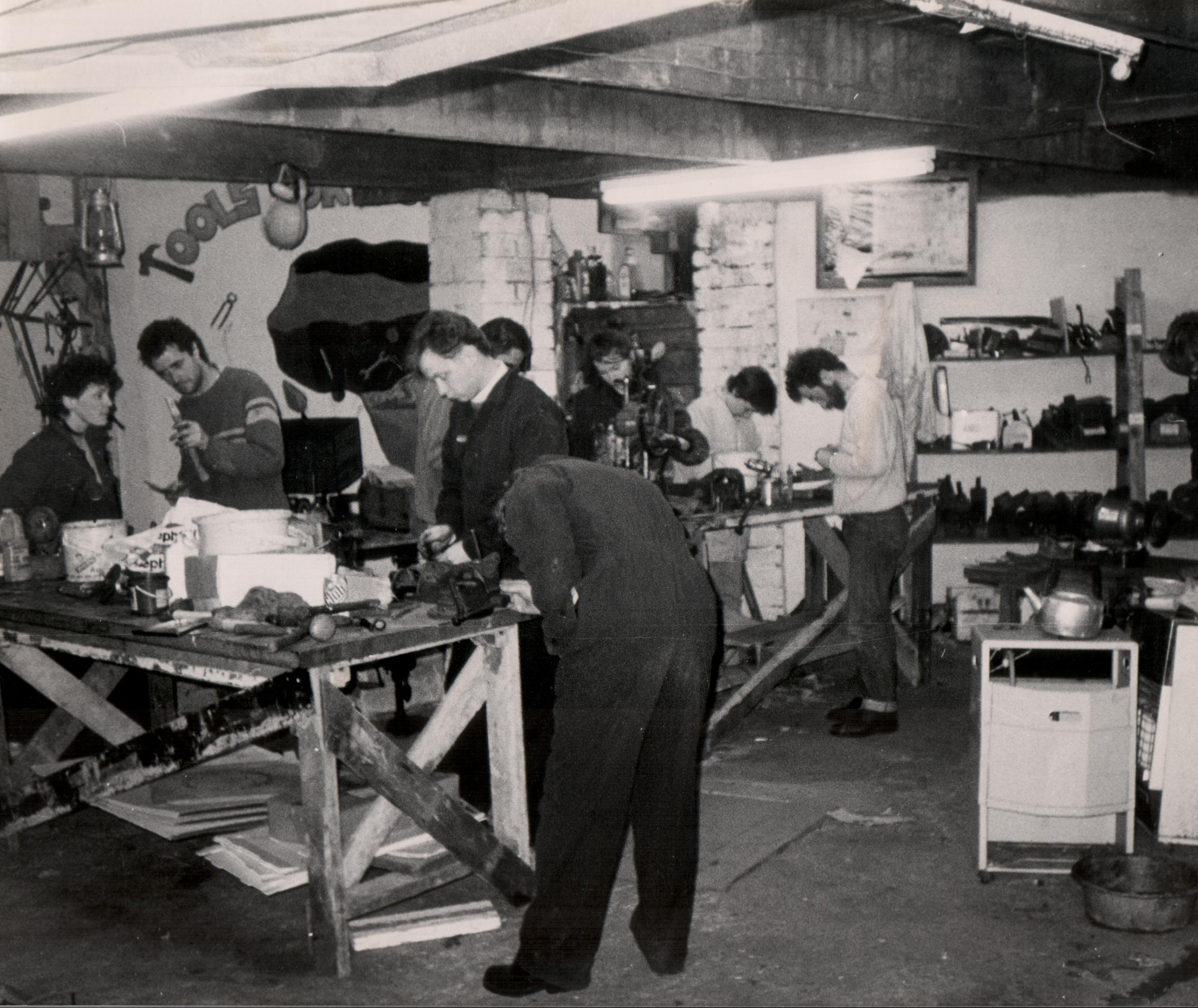The workshop in Salisbury Av in a friends garage in full flow